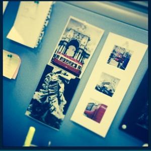 Postcards decorating desk space