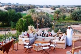 Al Tarfa garden terrace. Photo courtesy of Al Tarfa Lodge